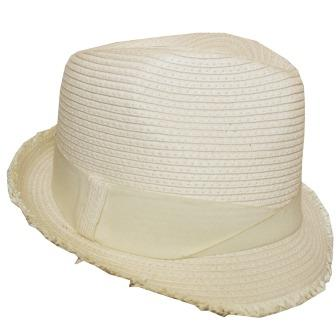 C15112 Cream Soft Poly freyed edge fedora