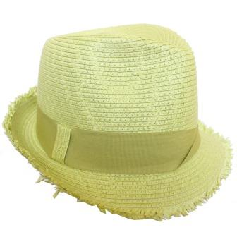 C15112 Lime Soft Poly freyed edge fedora