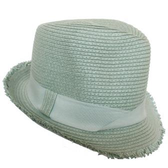 C15112 Smoke Soft Poly freyed edge fedora