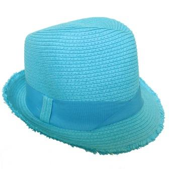 C15112 Turquoise Soft Poly freyed edge fedora