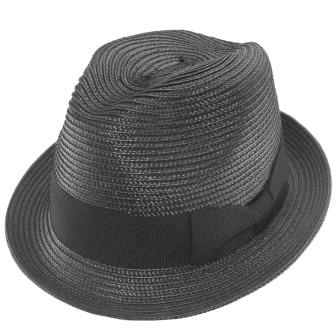 C16115 Black Poly Braid womens Trilby