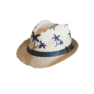 KD2005 - Beige fedora with palm trees