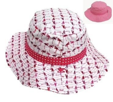 KG234 Flamingo Pink Dotted Reversible Girls Estar Hat