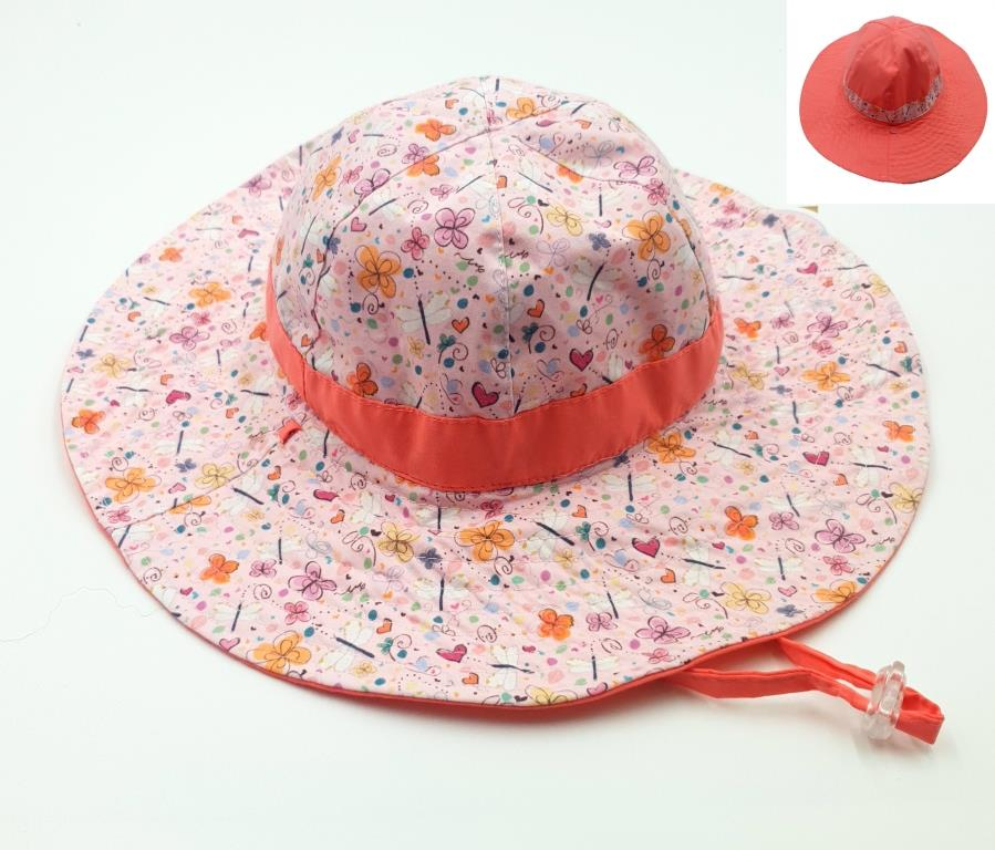 KG310 Girls coral Butterfly Floral Hat